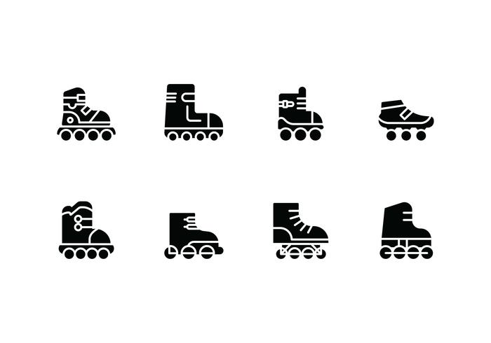 Rollerblade set icons vector