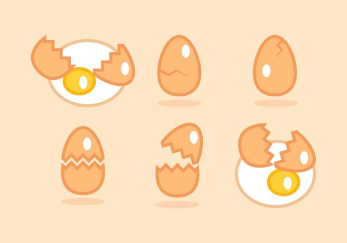 Pacote de vetores livre de ovos quebrados