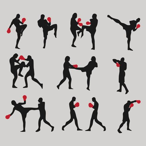 Muay Thai Silhouette Icon Vectors