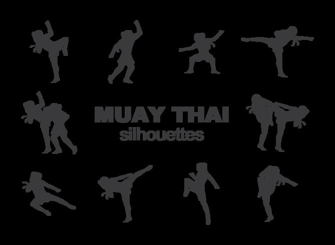 Muay vetor das silhuetas tailandesas