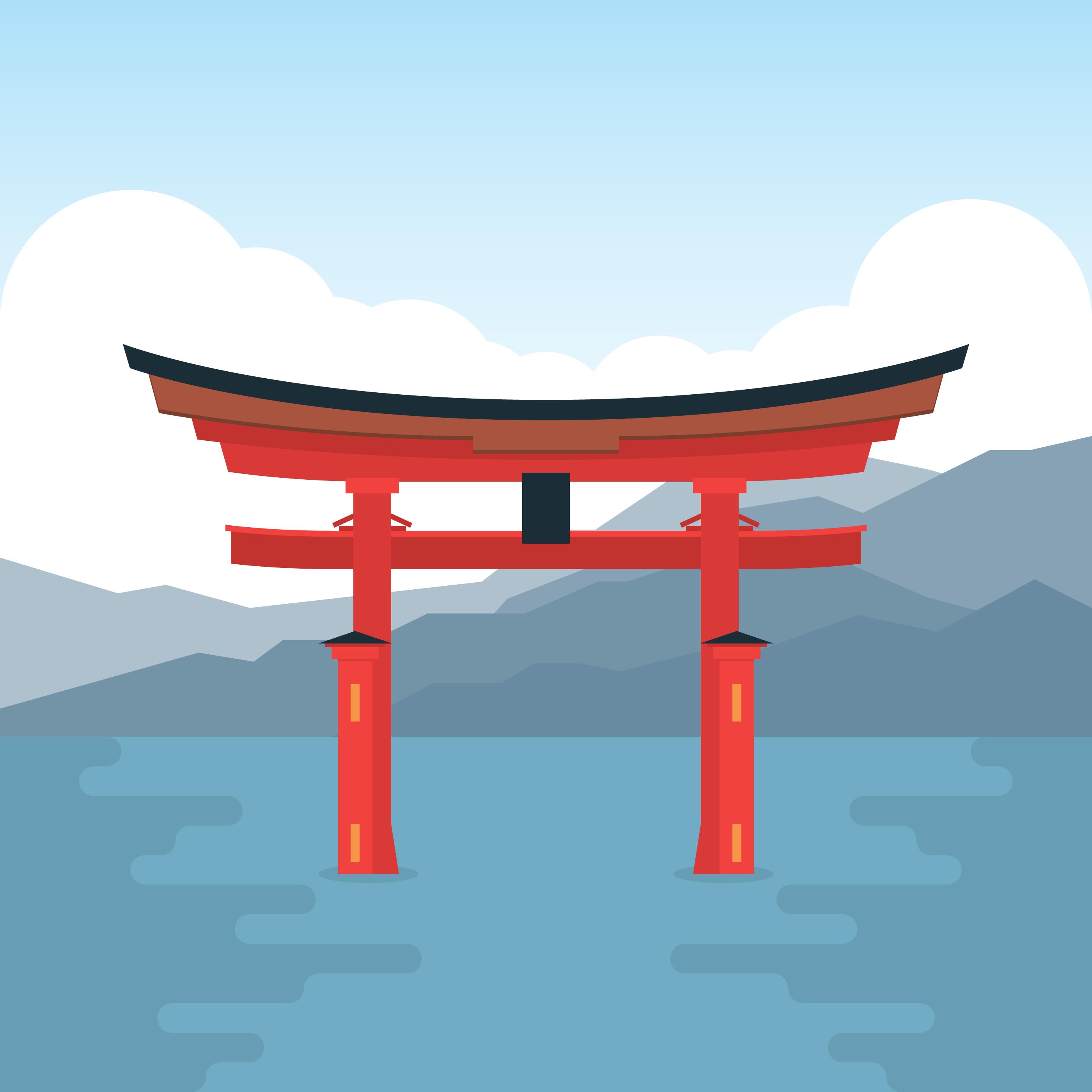 Itsukushima Shrine Torii Japan - Download Free Vector Art ...