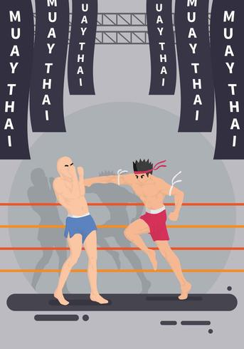 Two Man Fight Muay Thai Martial Arts Illustration