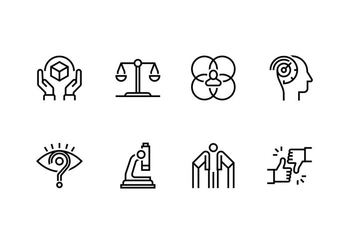 Personality and character set linear icon