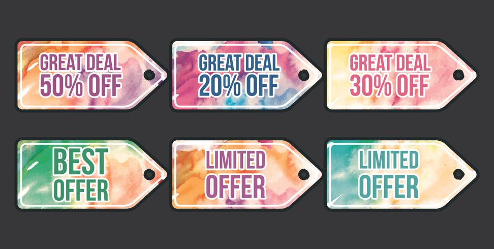 Vector Watercolor Price Flash Tags