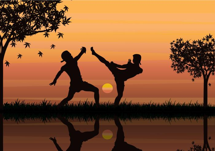 Two Man Fight With Muay Thai Style Vector Illustration Silhouette