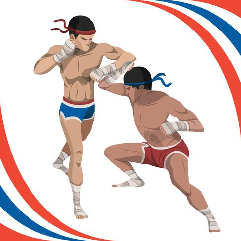 Two Man Fight With Muay Thai Style Vector Illustration