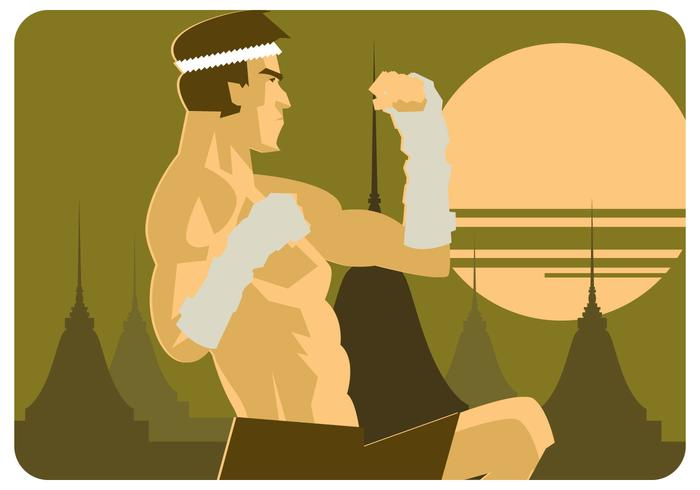 muay thai illustratie vector