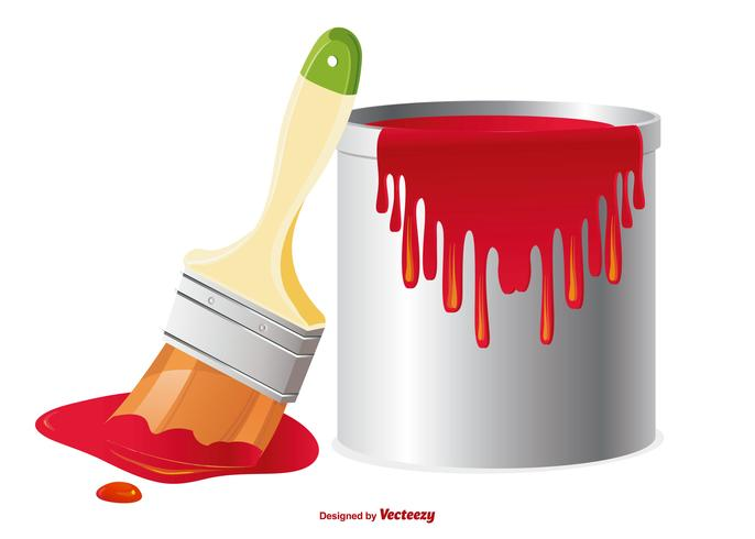 Paint Pot and Brush Illustration