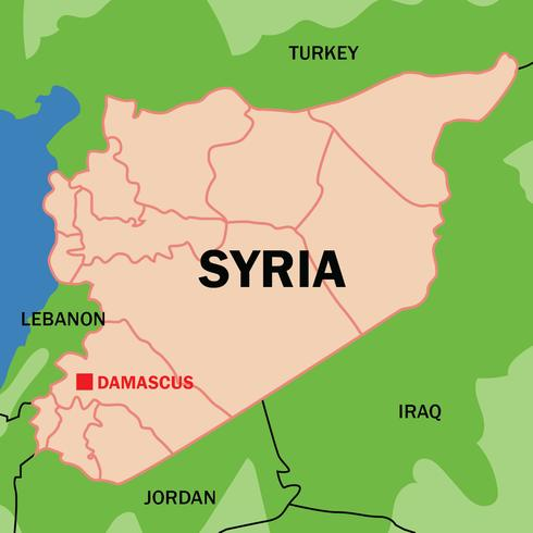 Outlined Syria Map Vector