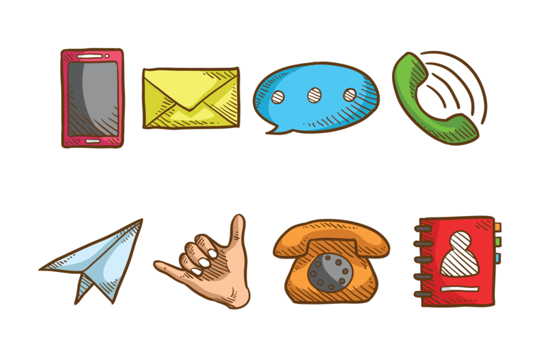 Sketchy Contact Me Icons Vector