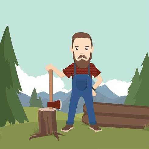 Woodcutter Illustration Gratis Vector