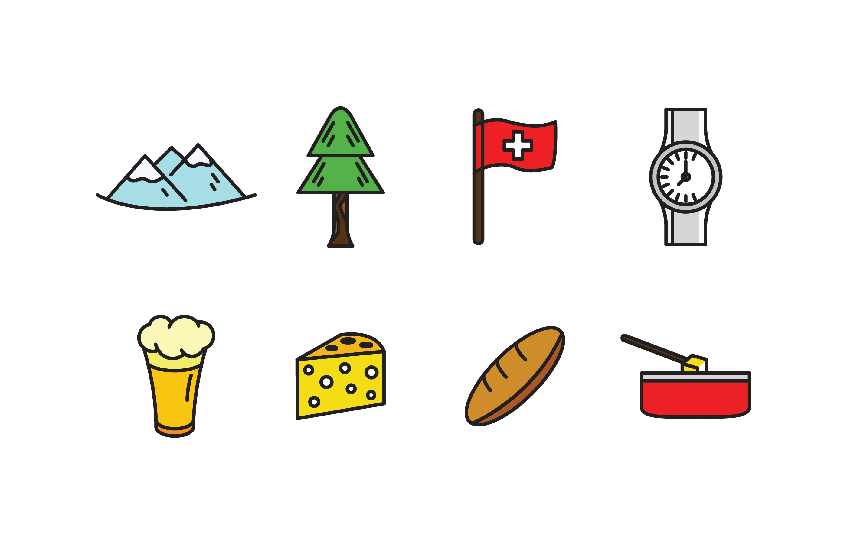 Switzerland Culture Filled Outline Icons Download Free Vector Art