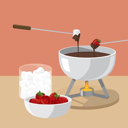 Strawberry Fondue Free Vector