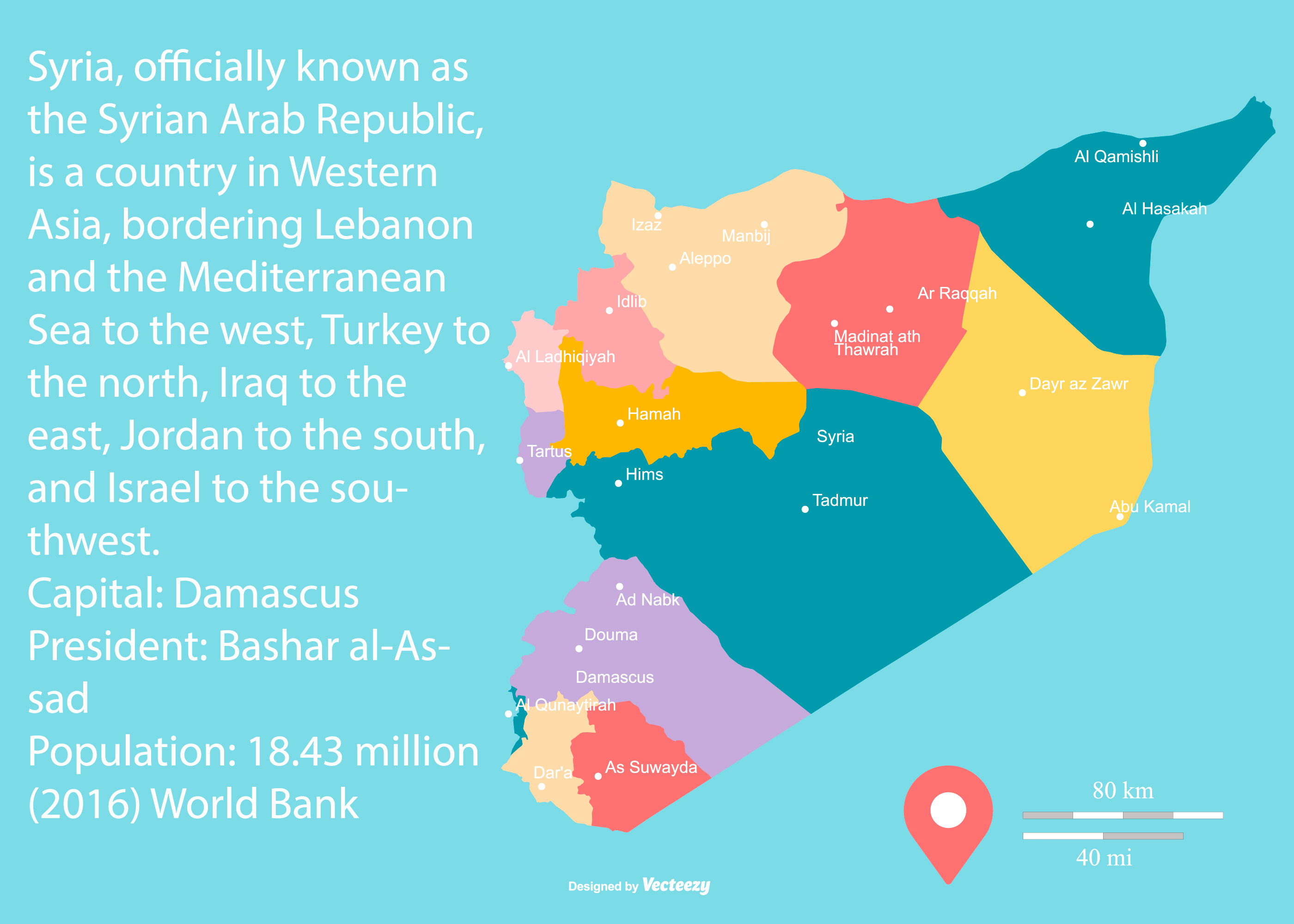Map Pin In A Map Free Vector Instantshift Beautiful Free: Colorful Map Of Syria With Regions