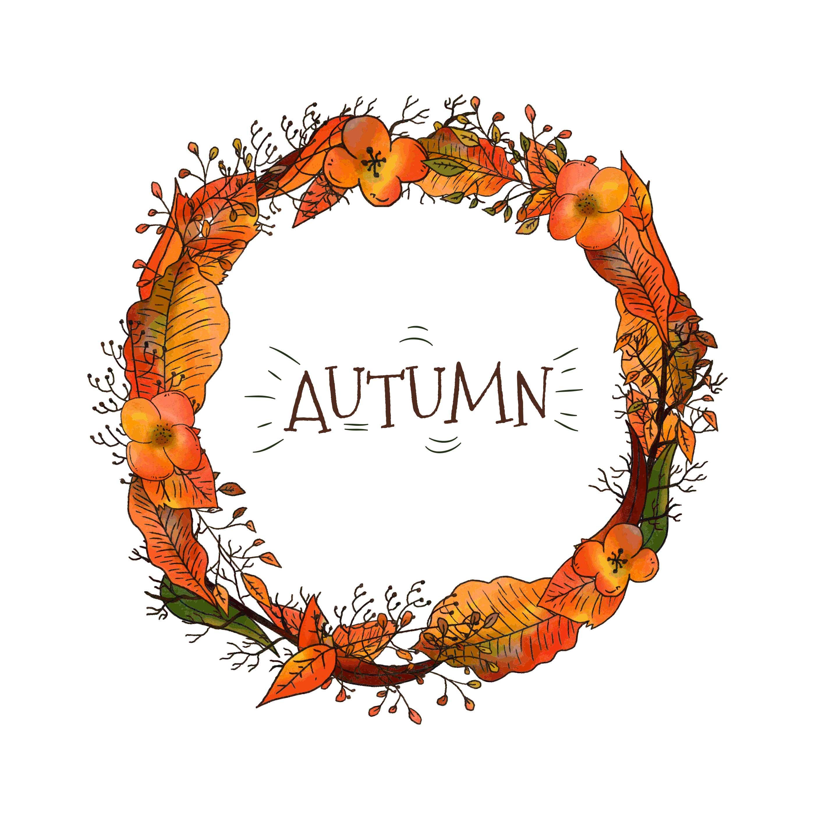 Corona de otoño con hojas y flores - Descargue Gráficos y ...