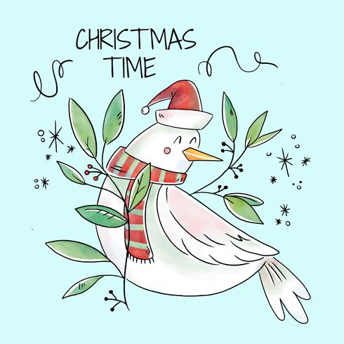 Cute Whit Bird Smiling With Xmas Leaves And Ornaments
