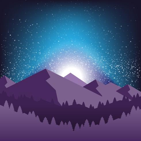 Starry Night Sky And Silhouette Of The Mountain Illustration