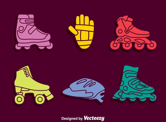 Colored Rollerblade Element Icons Vector