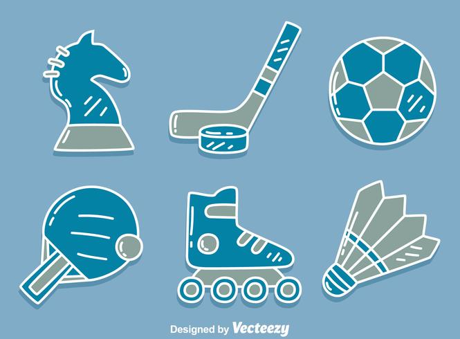Sport Icons On Blue Vector