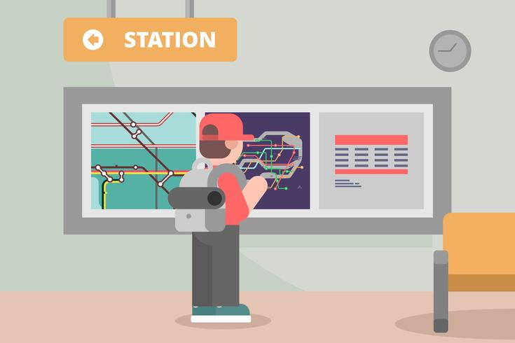 Estação de metrô com ilustração do mapa de tubo