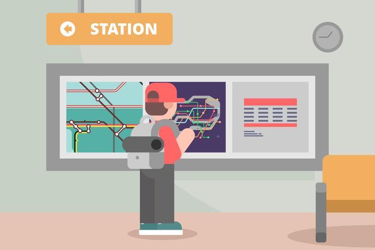 Subway Station with Tube Map Illustration