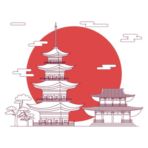 Santuario con Torii Linear Vector Illustration