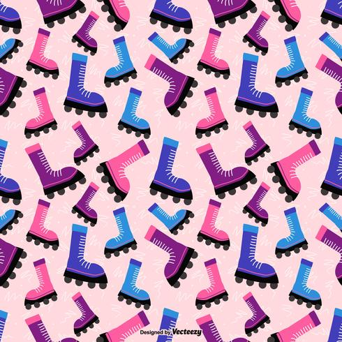 Colorful Cartoon Rollerblade Vector Seamless Pattern
