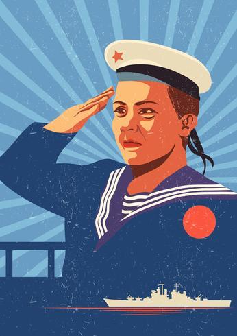 Vintage sjömän affisch vektor