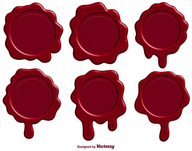 Set Röd Stamp Wax Seal - Vector
