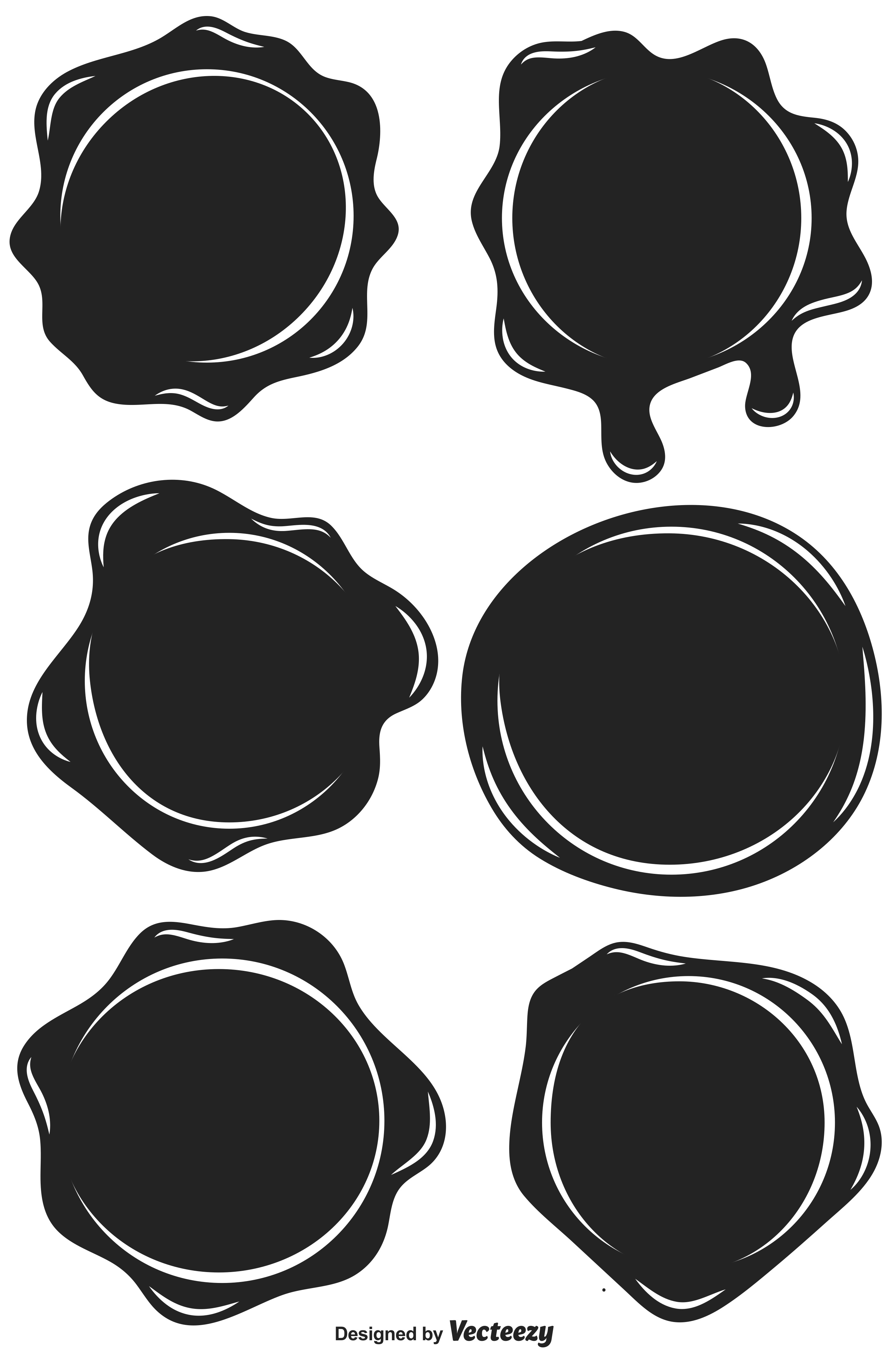 Set Of Black Stamp Wax Seal - Vector Flat Style Icons ...