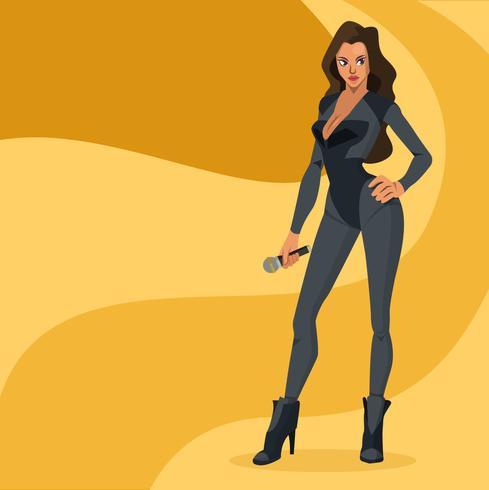 Full Body Pop Star Vector Cartoon Illustration