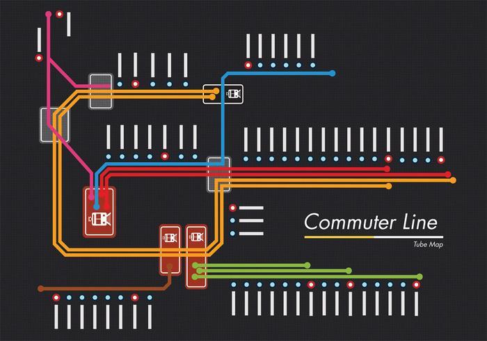 diseño de vector de mapa de tubo de línea de cercanías
