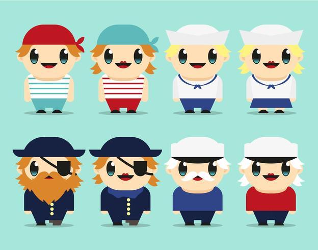 Seaman Kawaii Characters Illustration Vector