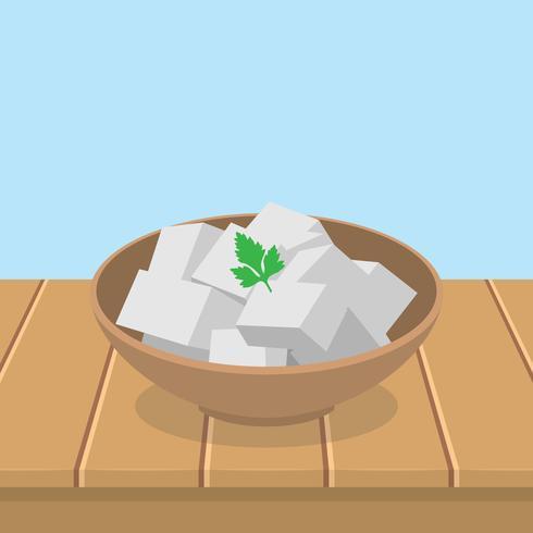 Tofu frais dans un bol vecteur