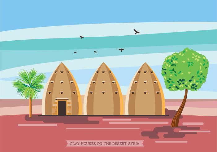 Illustration av lera hus på öknen, Syrien