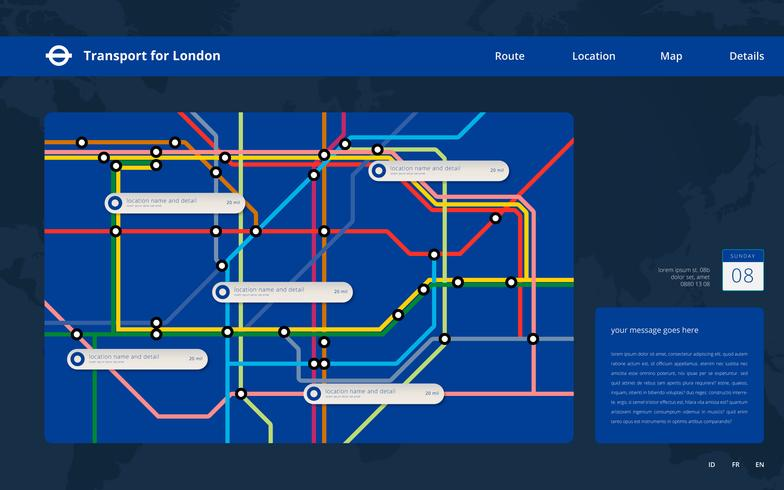 Tube Map London Transportation. Underground Railway. Metro Mass Transportation Web Template.