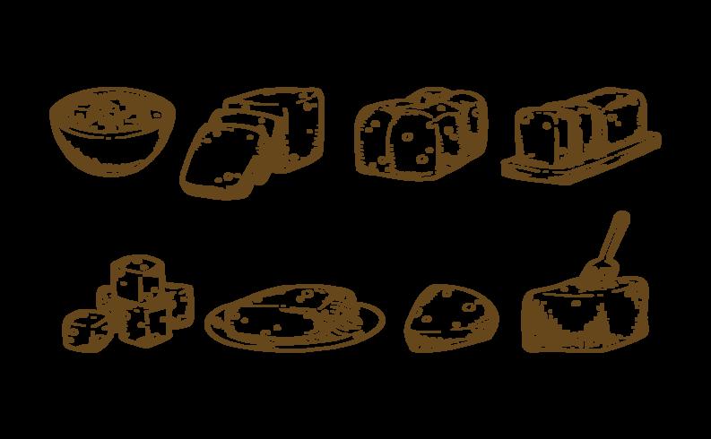 Tofu ikoner vektor