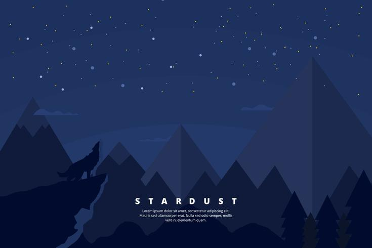 Mountain Scape med Star Dust Illustration