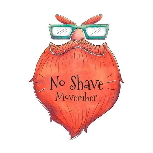 Mustasch Beard för Movember Day Vector