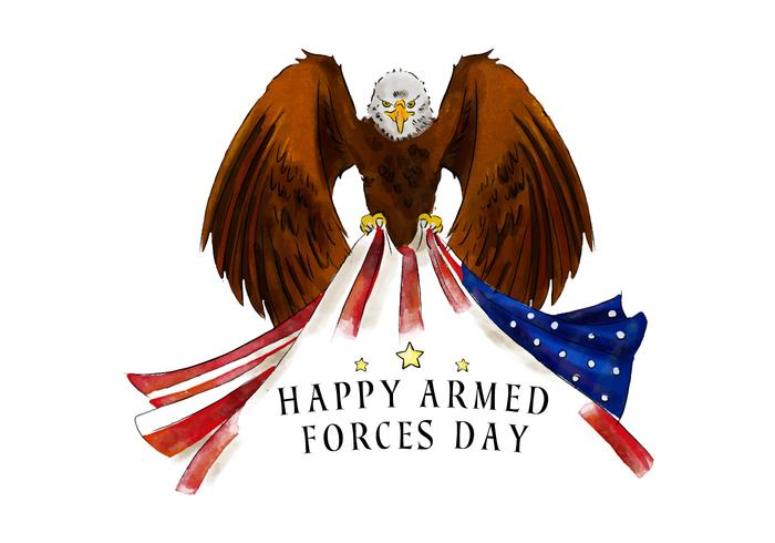 Águila calva con la bandera americana para Vector de día de la fuerza armada