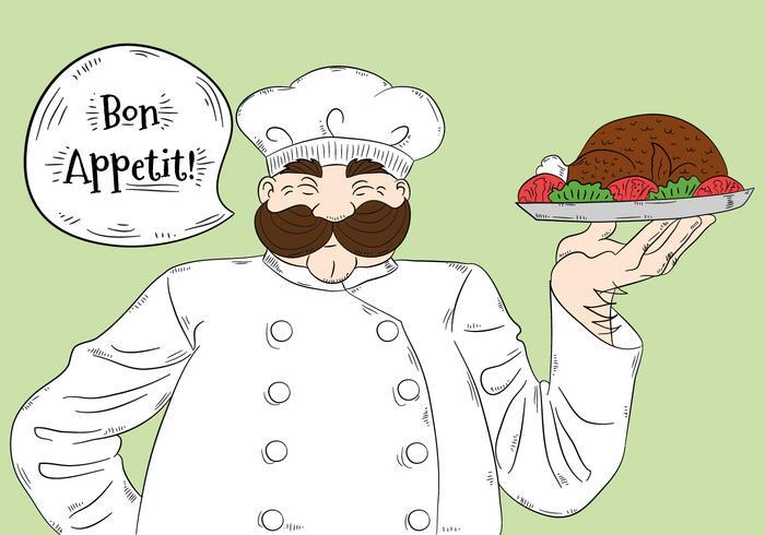 Caráter grande bonito do cozinheiro chefe com o vetor da rotulação de Bon Appétit