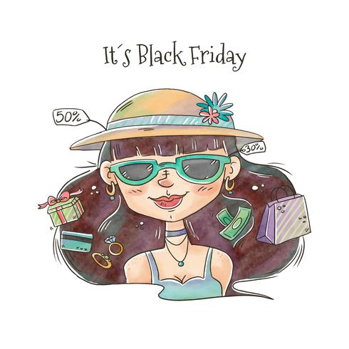 Black Friday Cute Woman With Sales And Shopping Vector