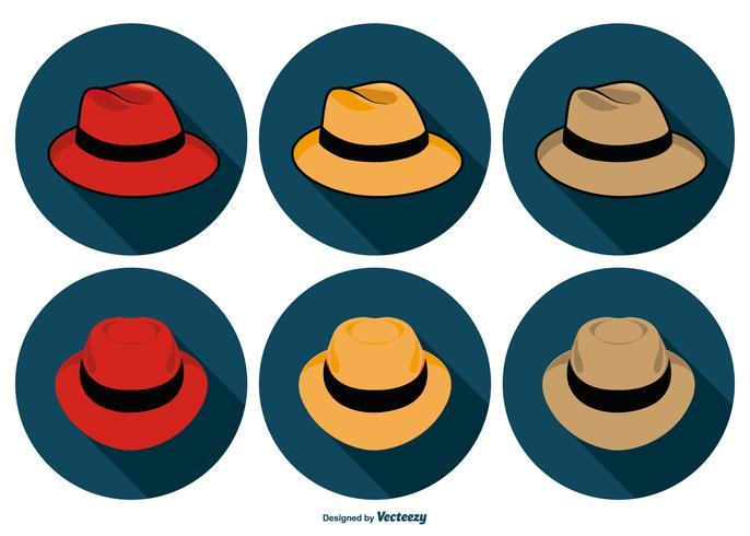 Colección de iconos de sombrero de Panamá vector