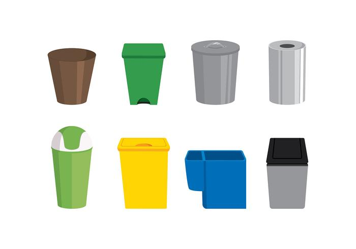 Waste Baskets Set Free Vector