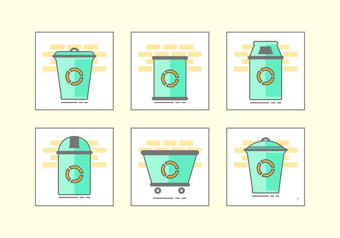 Grön avfall korg ikonuppsättning