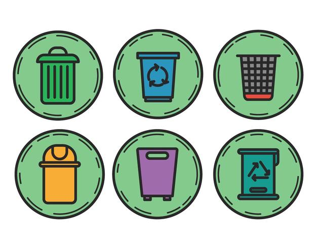 Waste basket vector set