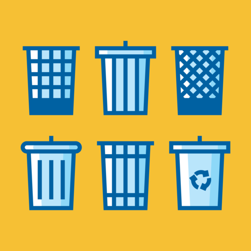 Iconos de cesta de residuos vector