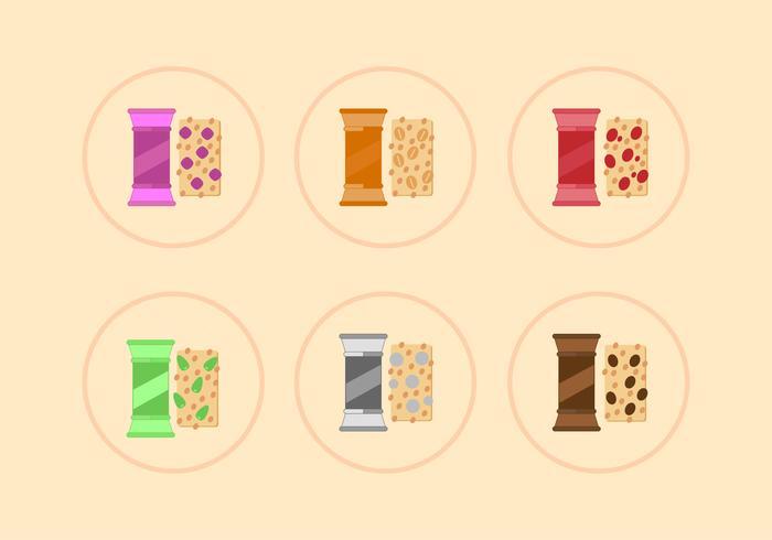 Six variantes de vecteurs de granola vecteur