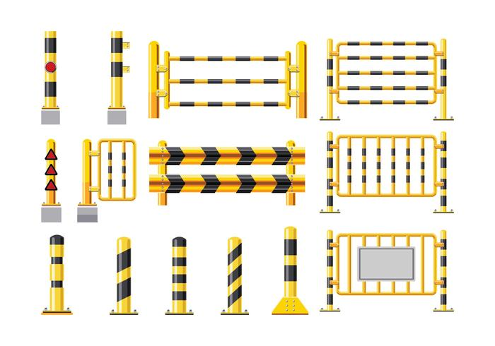 Set Detailed Illustration of a Guardrail