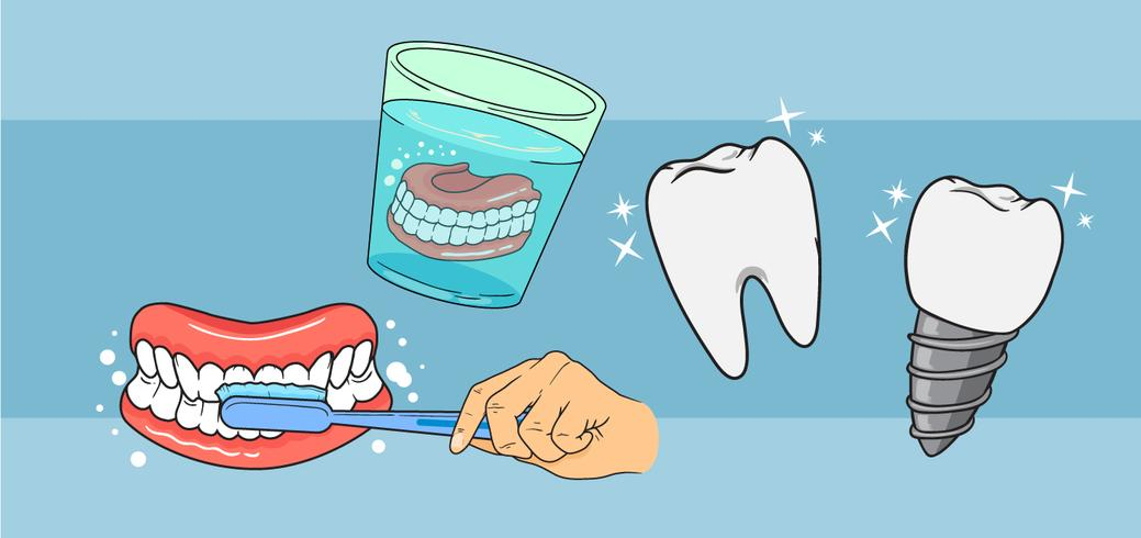 Vetores de cuidado de dentes falsos